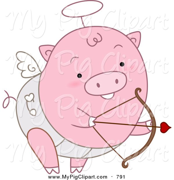 Swine Clipart of a Pink Cupid Pig Shooting Arrows