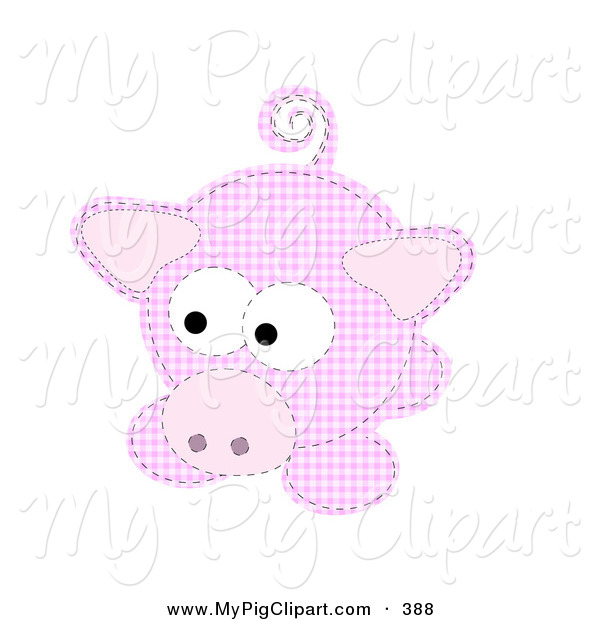 Swine Clipart of a Pink Patchwork Piggy Looking Left
