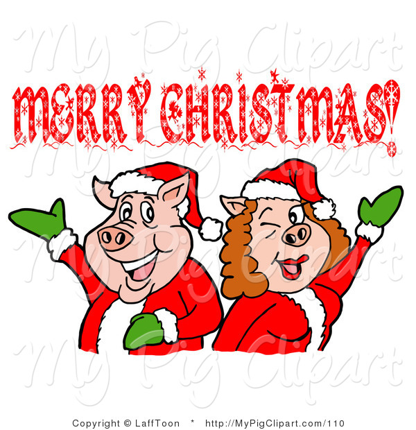 Swine Clipart of a Pink Pig Couple in Santa Suits, Holding Their Arms up Under a Merry Christmas Greeting