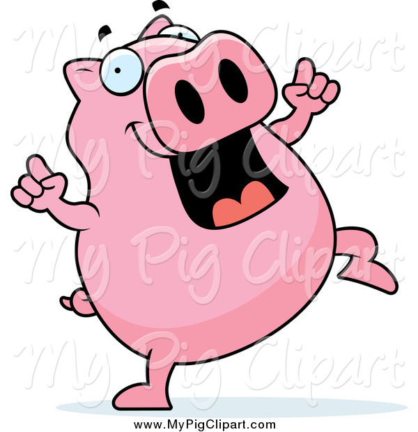 Swine Clipart of a Pink Pig Dancing