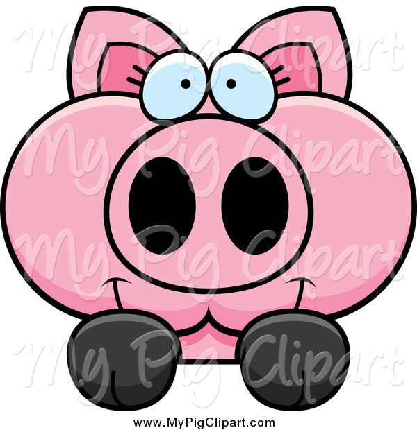 Swine Clipart of a Pink Pig Looking over a Surface
