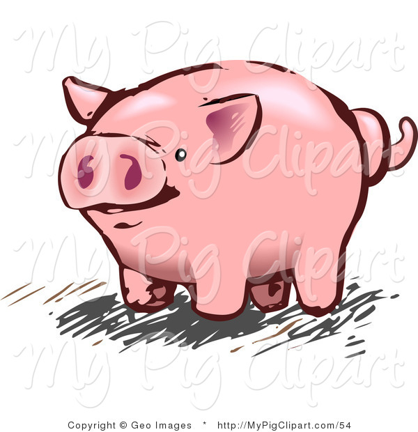 Swine Clipart of a Pink Pig or Piggy Bank with a Curly Tail