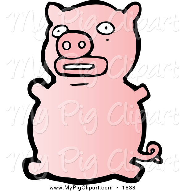 Swine Clipart of a Pink Pig Sitting