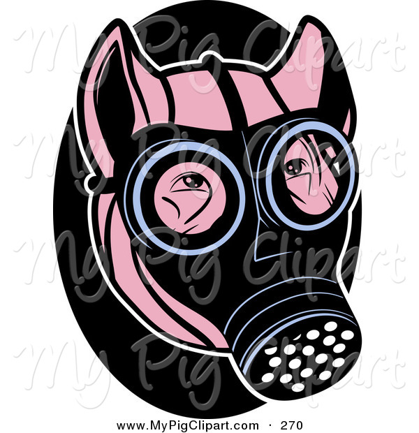 Swine Clipart of a Pink Pig Wearing a Black Gas Mask on His Face ...