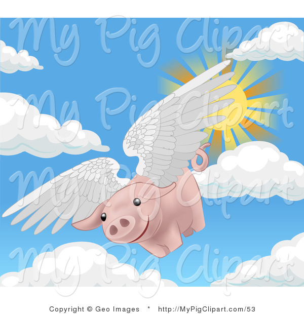 Swine Clipart of a Pink Pig with White Wings Flying Through the Sky on a Sunny Day, when Pigs Fly