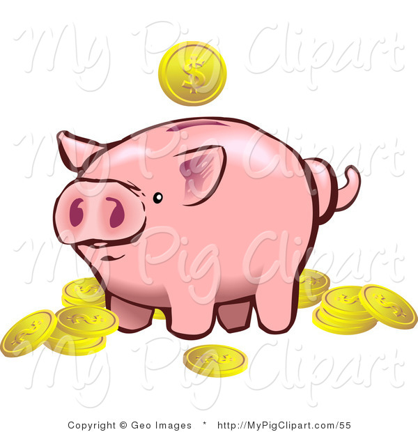 Swine Clipart of a Pink Piggy Bank Surrounded by Several Golden Coins