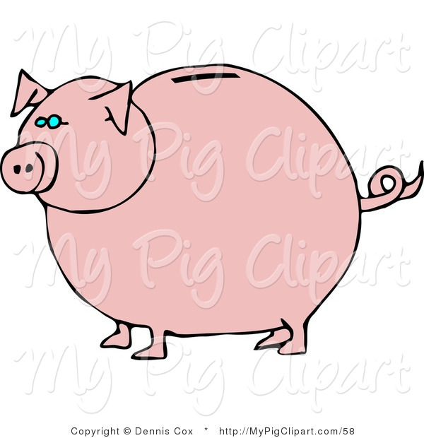 Swine Clipart of a Pink Piggy Bank with Blue Eyes Facing Left