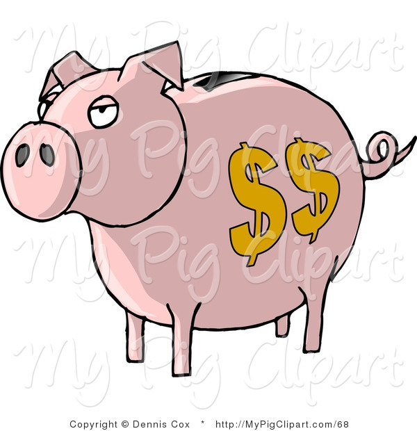 Swine Clipart of a Pink Piggy Bank with Yellow Dollar Signs