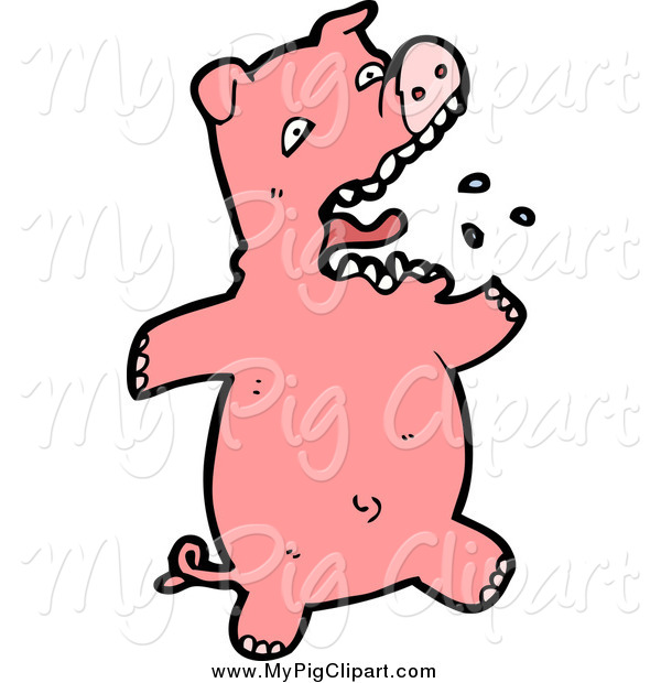 : Swine Clipart of a Pink Piggy Burping