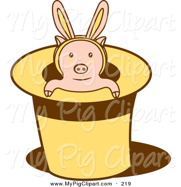 Swine Clipart of a Pink Piglet Wearing Bunny Ears, Popping out of a Magicians Hat