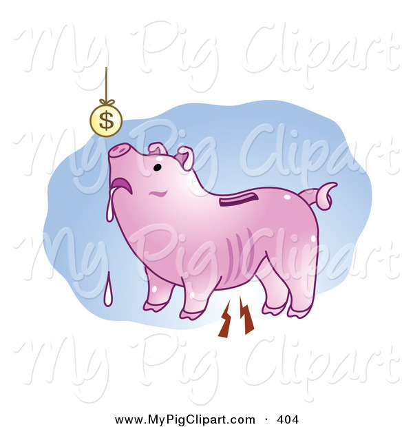 Swine Clipart of a Poor Drooling Piggy Bank Looking up at a Suspended Coin Overhead