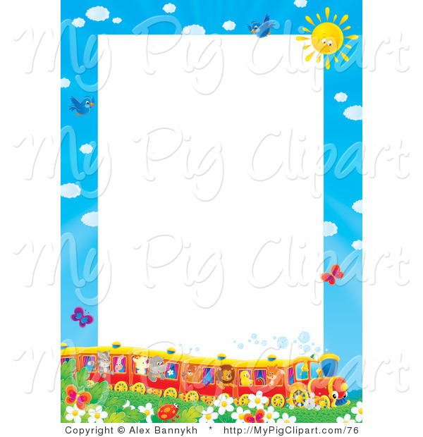 Swine Clipart of a Pretty Stationery Border or Frame of a Train Full of Animals in a Field of Flowers and Butterflies