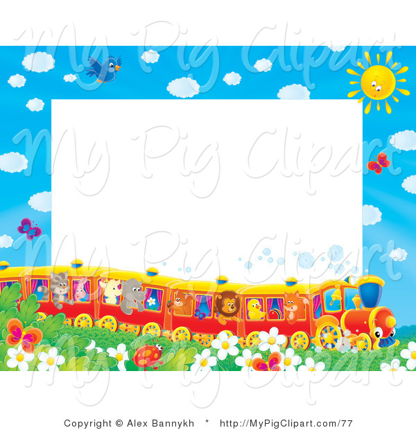 Swine Clipart of a Pretty Stationery Border or Frame of Birds, Butterflies, Bugs, and Flowers Watching a Train of Animals on a Sunny Day