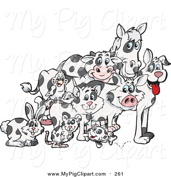 Swine Clipart of a Rabbit, Mouse, Fish, Cat, Bird, Pig, Dog, Cow and Horse with Matching Cloned Coats in a Pile