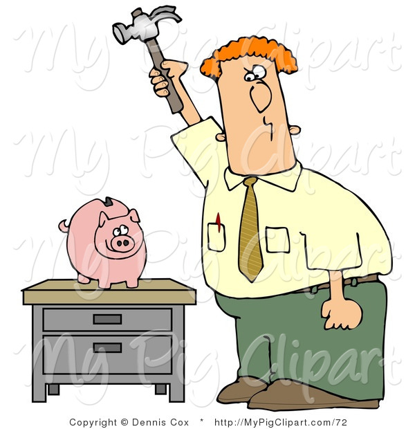 Swine Clipart of a Red Haired Caucasian Businessman Holding a Hammer High Above a Piggy Bank on a Table, Prepared to Smash the Bank and Take the Money out of Savings