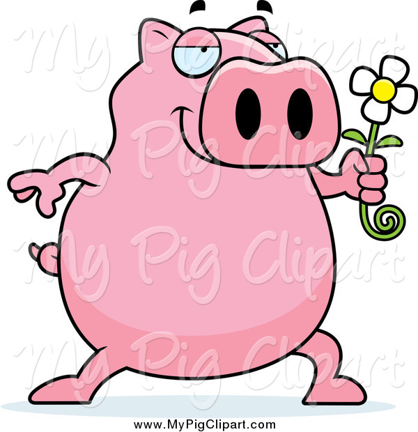 Swine Clipart of a Romantic Pig Holding a Daisy Flower