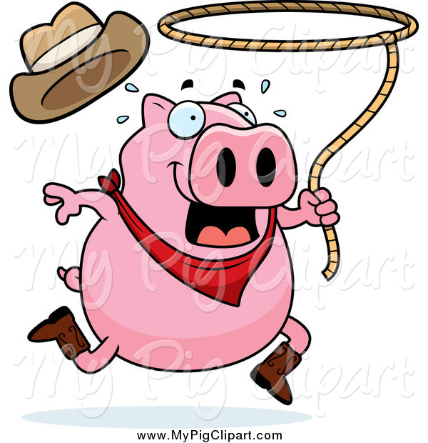 Swine Clipart of a Running Rodeo Pig Swinging a Lasso