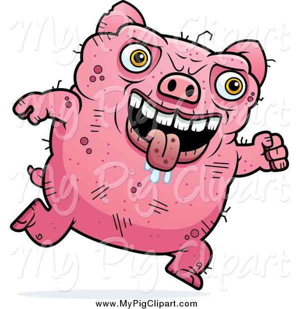 Swine Clipart of a Running Ugly Drooling Pig