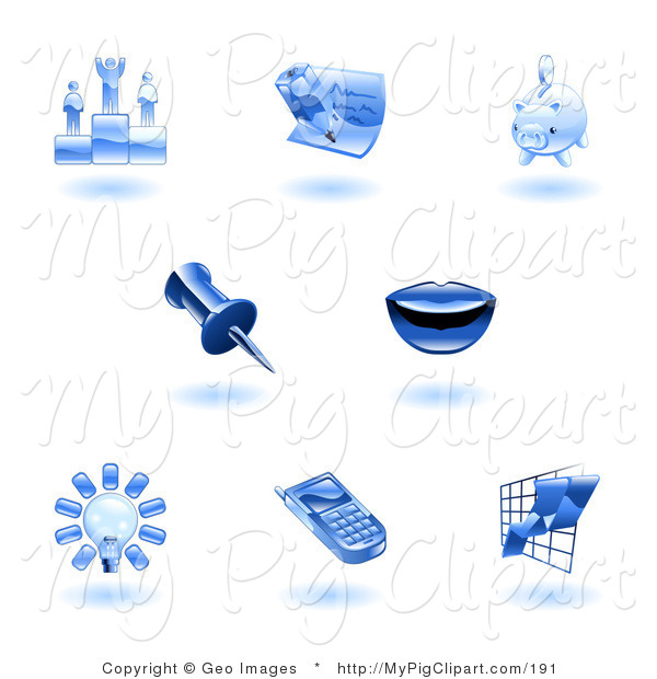 Swine Clipart of a Shiny Blue Office Icons on a White Background