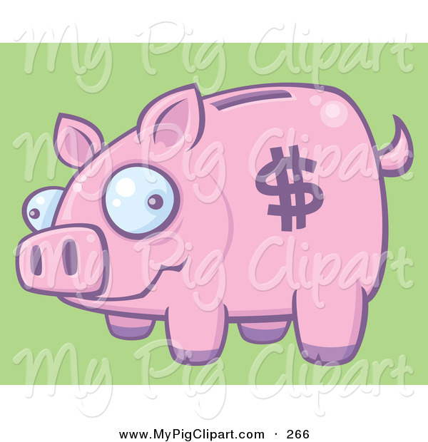 Swine Clipart of a Silly Pink Piggy Bank with a Dollar Symbol on Its Side