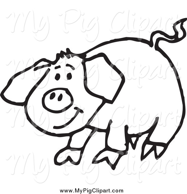 : Swine Clipart of a Sketched Black and White Happy Pig