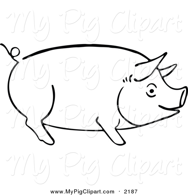 Swine Clipart of a Sketched Pig Outline