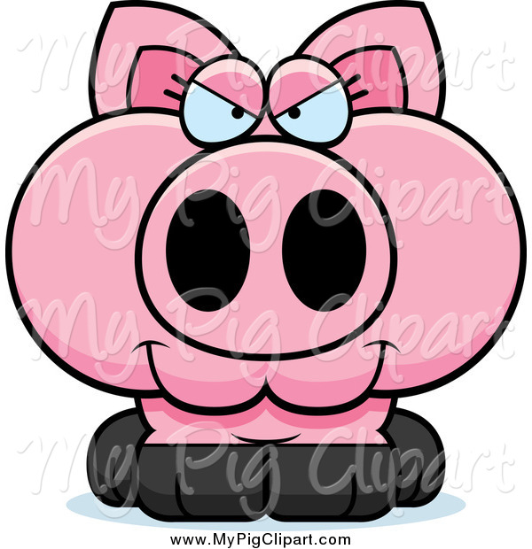 Swine Clipart of a Sly Pig