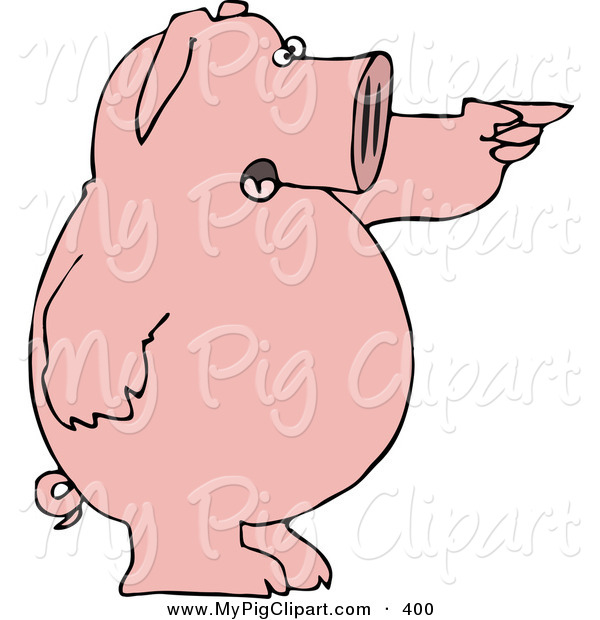 Swine Clipart of a Smiling Standing Pink Pig Shouting and Pointing to the Right