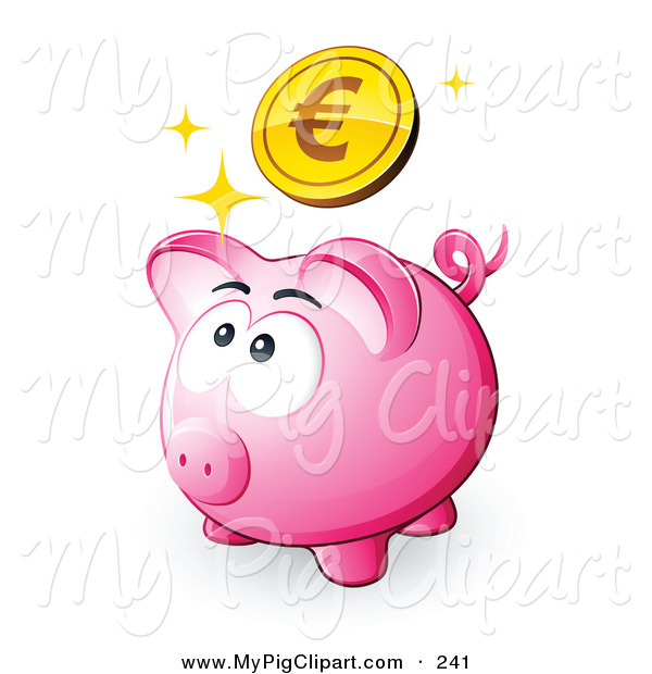 Swine Clipart of a Sparkly Gold Euro Coin Above a Pink Piggy Bank