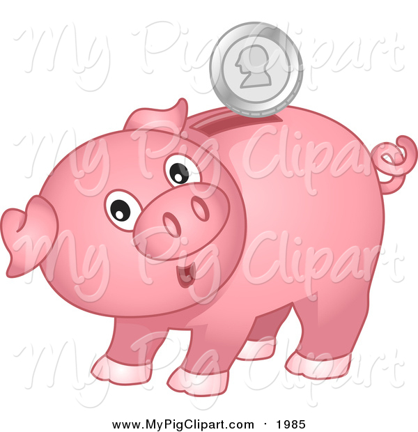 Swine Clipart of a Surprised Pink Piggy Bank with a Silver Coin