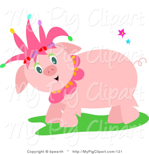 Swine Clipart of a Sweet Friendly Pink Pig Wearing a Jester Hat and Standing in Grass