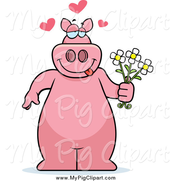 : Swine Clipart of a Sweet Pig Standing and Holding Flowers