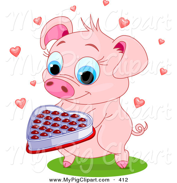 Swine Clipart of a Sweet Pink Pig Holding out a Box of Valentine Chocolates