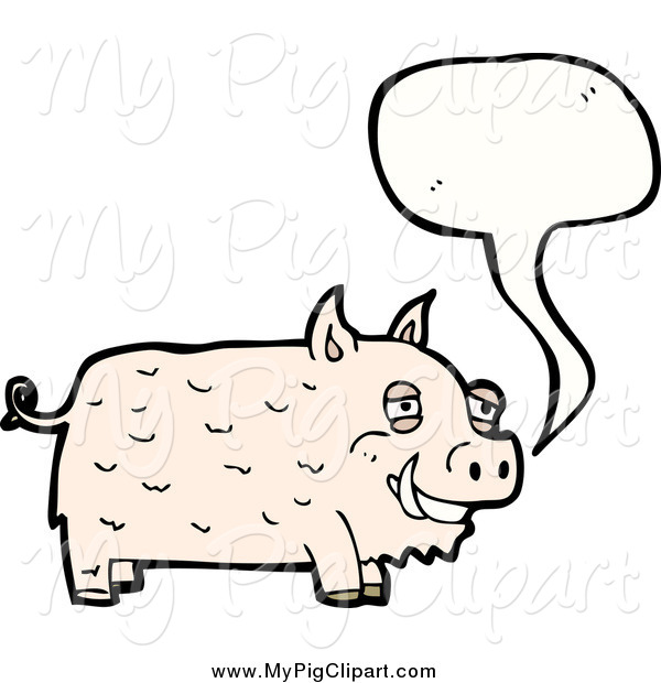 Swine Clipart of a Talking Happy Pig