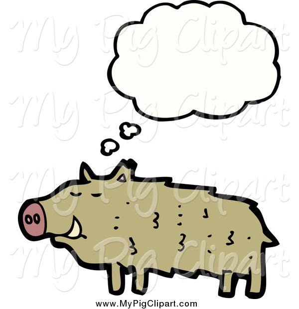 Swine Clipart of a Thinking Brown Pig