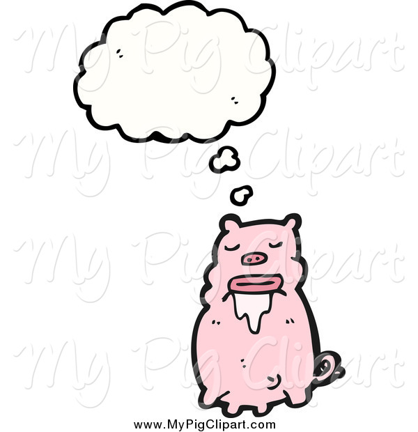 Swine Clipart of a Thinking Drooling Pig