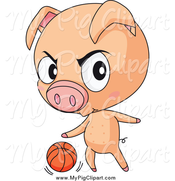 : Swine Clipart of a Toug Pig Playing Basketball