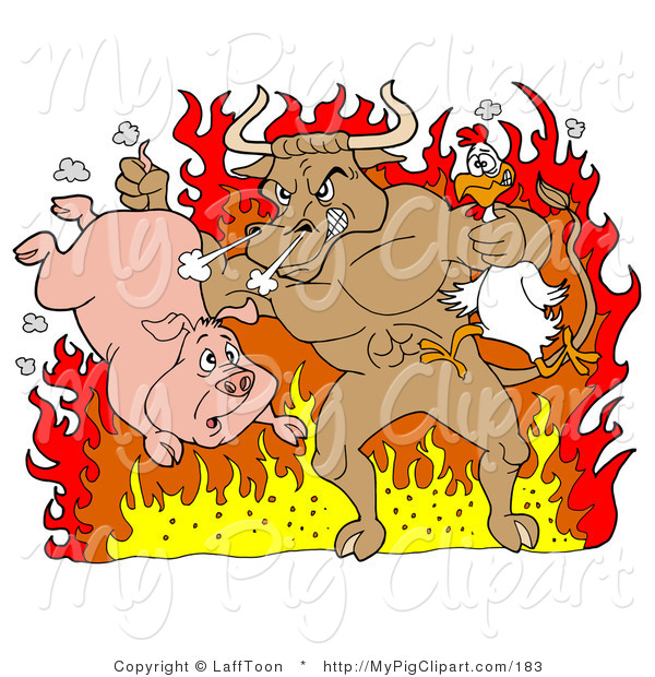 Swine Clipart of a Tough Brown Bull Holding a Chicken and Pig and Standing in Hot Flames