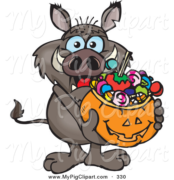 Swine Clipart of a Trick or Treating Brown Boar Holding a Pumpkin Basket Full of Halloween Candy