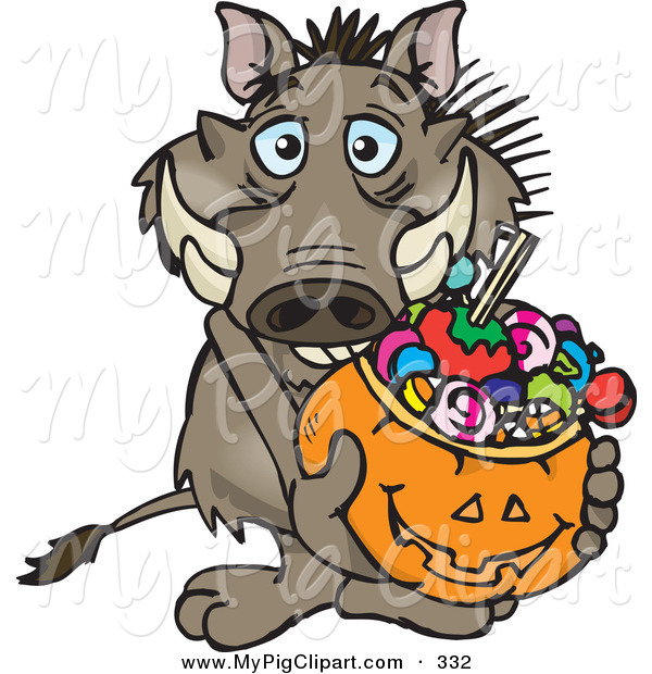 Swine Clipart of a Trick or Treating Brown Warthog Holding a Pumpkin Basket Full of Halloween Candy