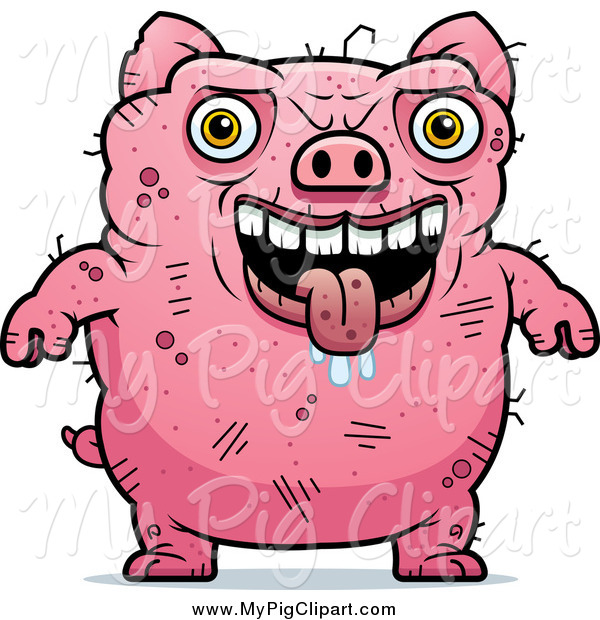 Swine Clipart of a Ugly Drooling Pig