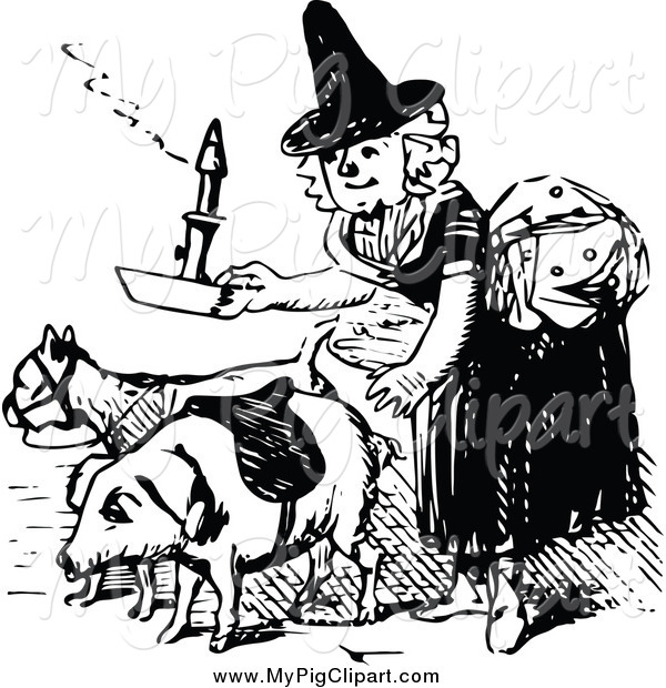 Swine Clipart of a Vintage Black and White Old Woman with a Pig
