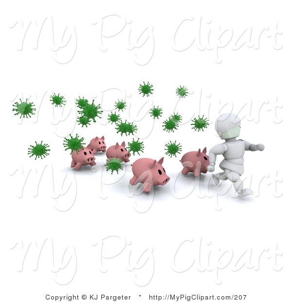 Swine Clipart of a White Character Man and Pigs Running from Green Virus Bacteria