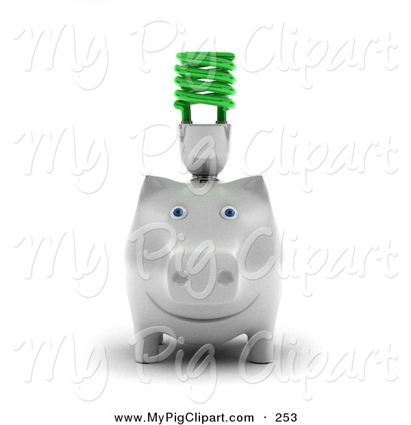 Swine Clipart of a White Piggy Bank with a Green Spiral Bulb on Its Back Facing Forward