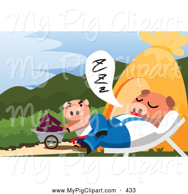 Swine Clipart of a Worker Pig Pushing a Wheelbarrow past a Napping Pig