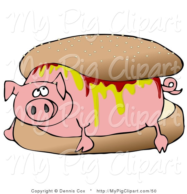 Swine Clipart of a Worried Pig Covered in Mustard and Ketchup, Lying in a Hamburger Bun