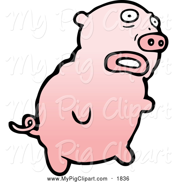 : Swine Clipart of a Worried Pink Pig