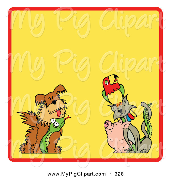 Swine Clipart of a Yellow Background Bordered with a Red Line, Dog, Snake, Pig, Cat and Parrot on the Bottom