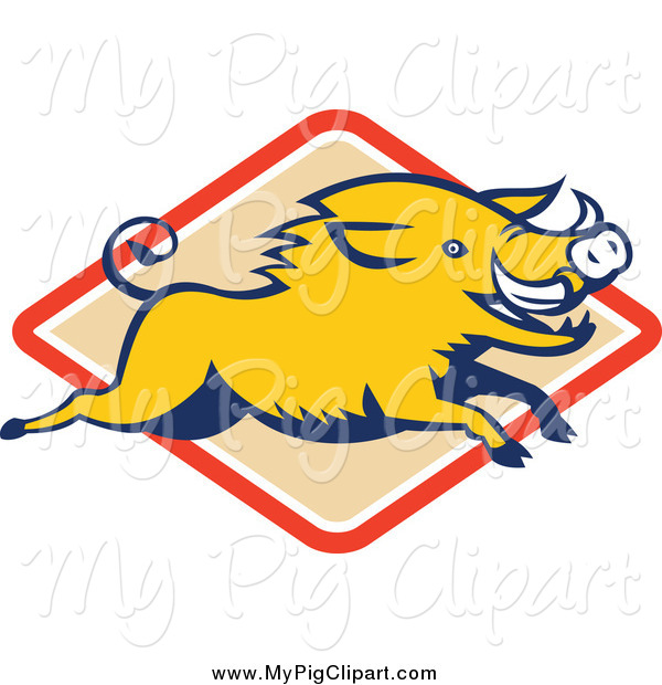 Swine Clipart of a Yellow Razorback Boar Leaping over a Diamond