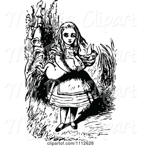 Swine Clipart of Alice Carrying a Pig in Wonderland